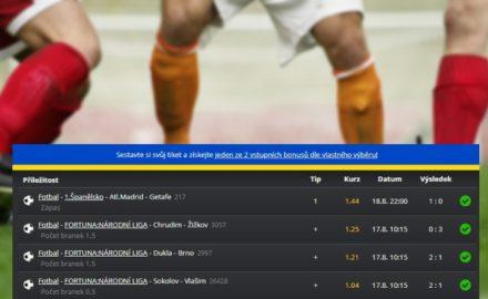 Tiket arena: K vidění bylo MAXIKOMBI s výhrou 216.000,- Kč i super zhodnocení 540 korun!