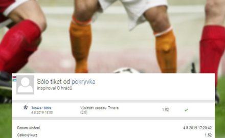 První srpnové tikety týdne: Výhra Trnavy za 117K, rekordem tenisová nálož ve výši 430.000,- Kč